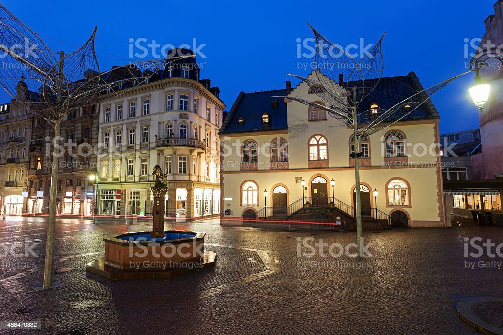 Old Rathaus in Wiesbaden stock photo
