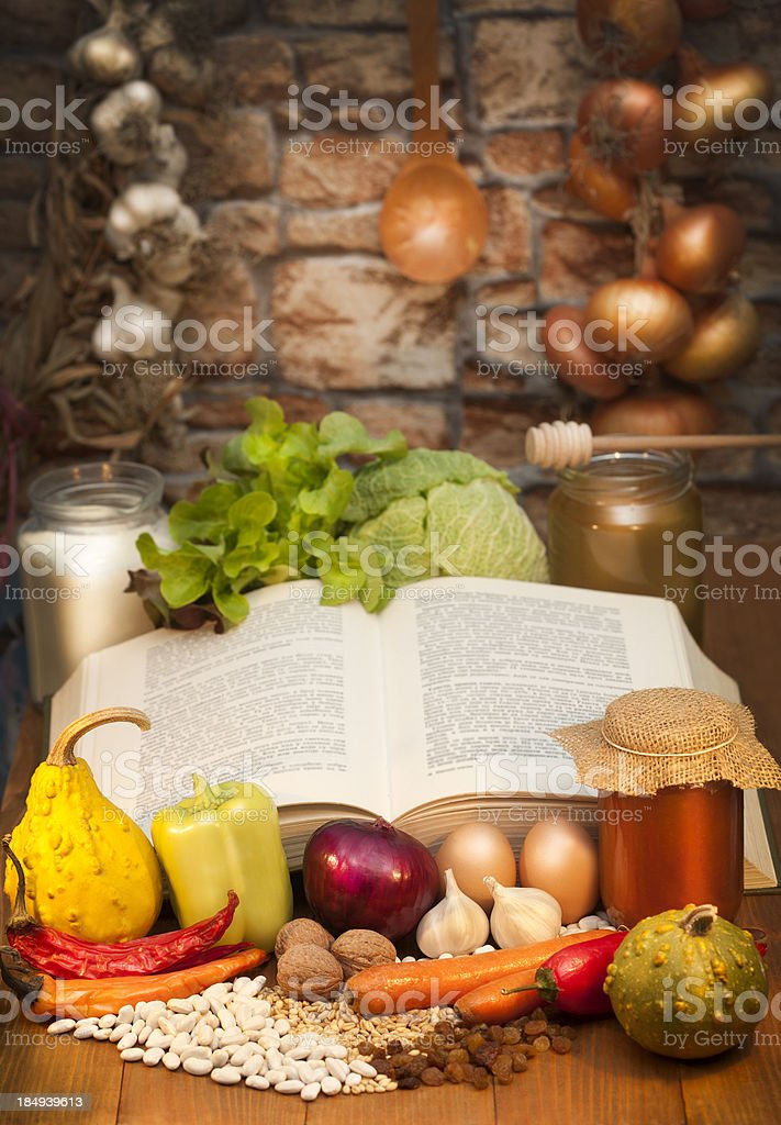 Old recipe book stock photo