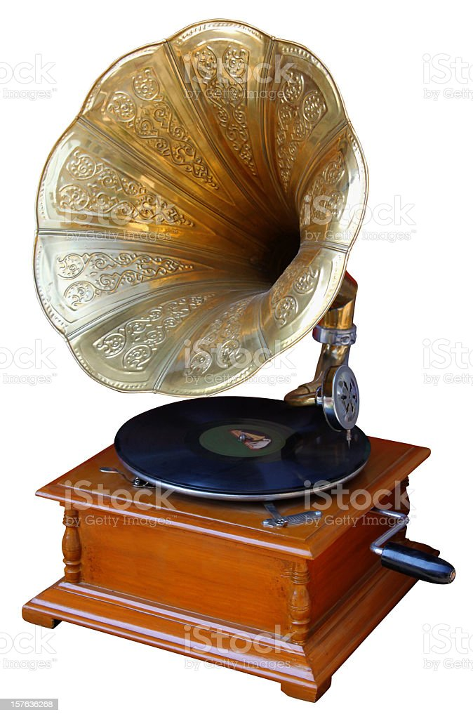 Old record player with horn on white background stock photo