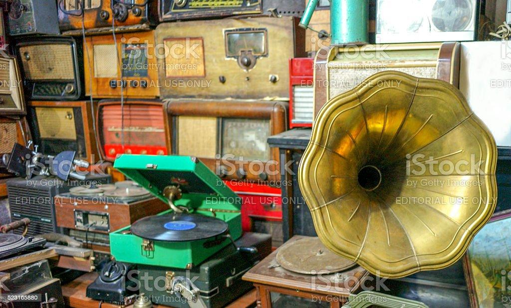 old record players and radios at flea market  ulus turkey stock photo