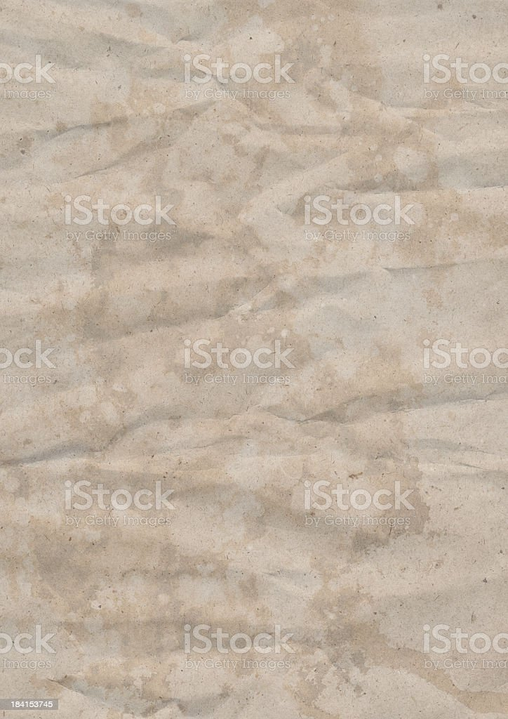 Old Recycled Beige Kraft Paper Hi-Res Grunge Texture royalty-free stock photo
