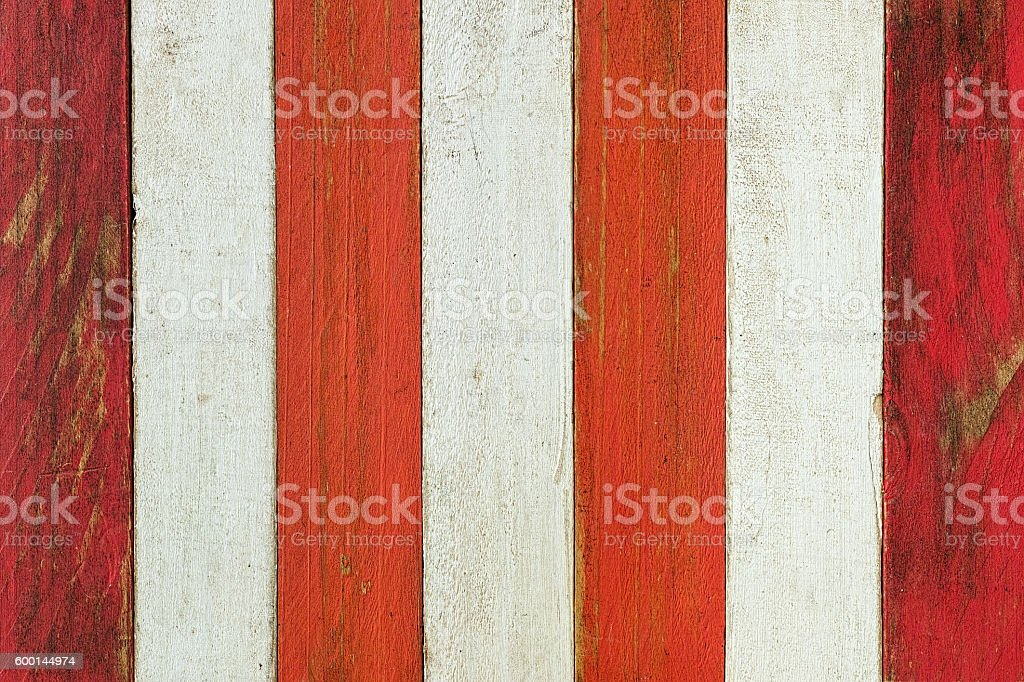 Old red and white wooden board background. stock photo