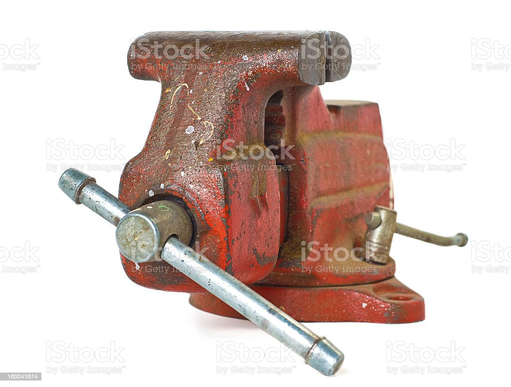 Old Red Bench Vise royalty-free stock photo