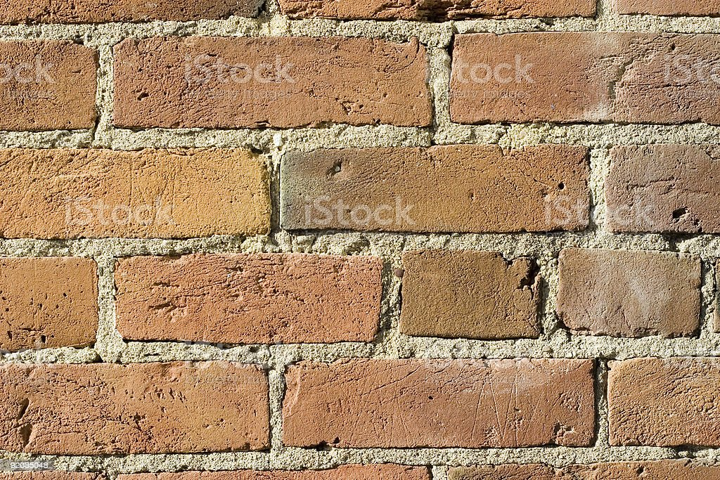 Old Red Brick & Cement (Concrete) Background stock photo
