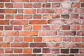 Old red brick wall, background texture