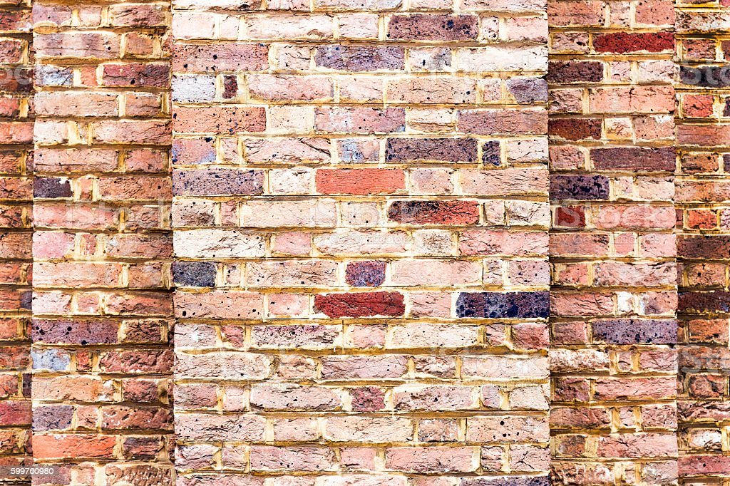 Old red brick wall background with copy space stock photo