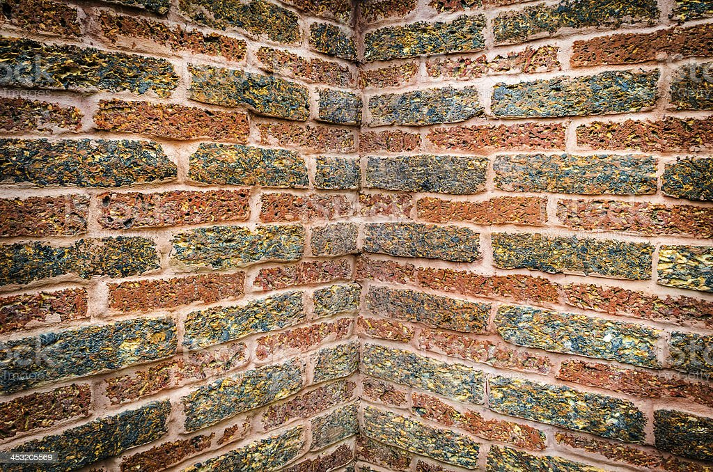 old red brick wall corner texture royalty-free stock photo