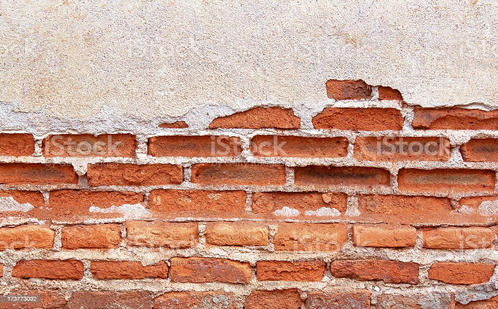 Old Red Brick Wall Disintegrated stock photo