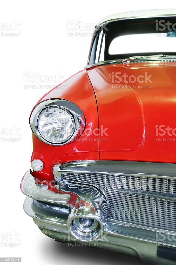 old red car isolated stock photo