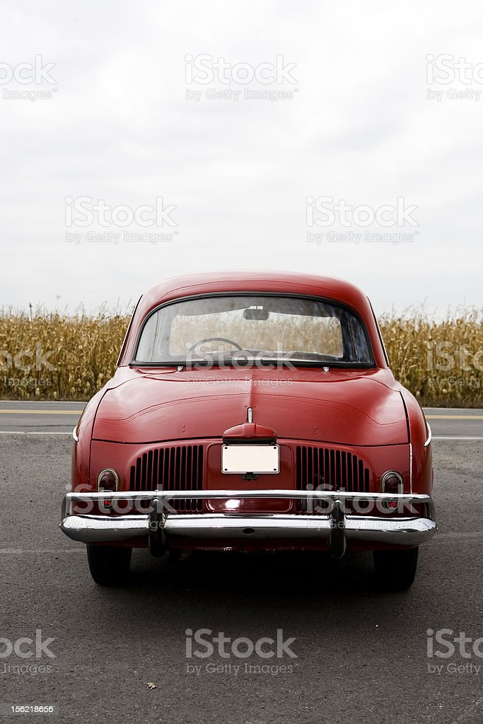 Old Red Car Rear View royalty-free stock photo