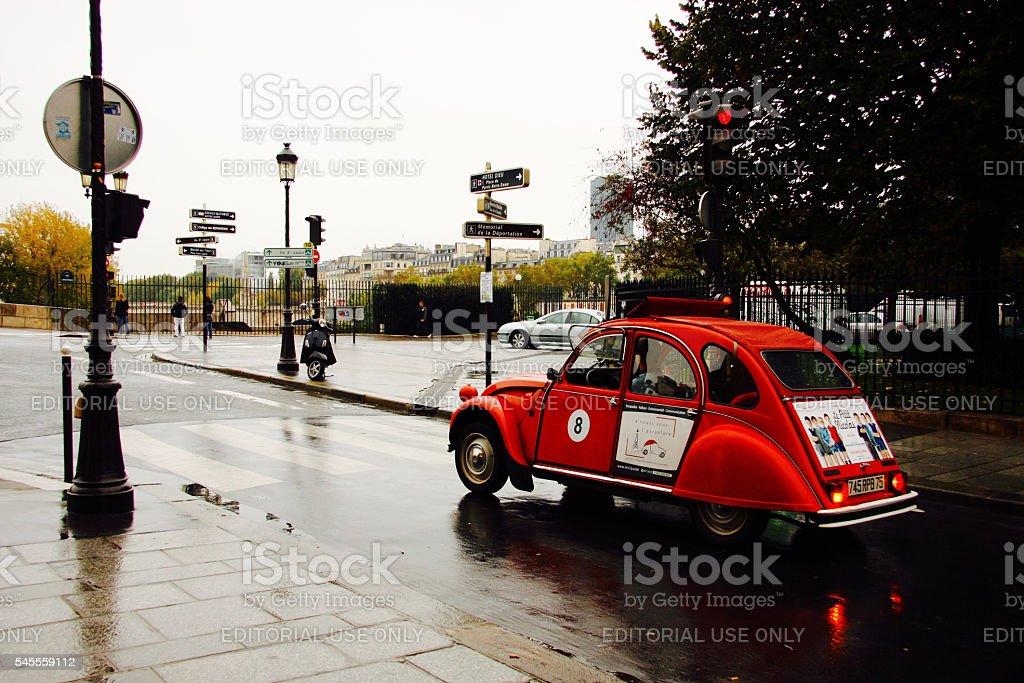Old Red Citroen Car in Paris stock photo