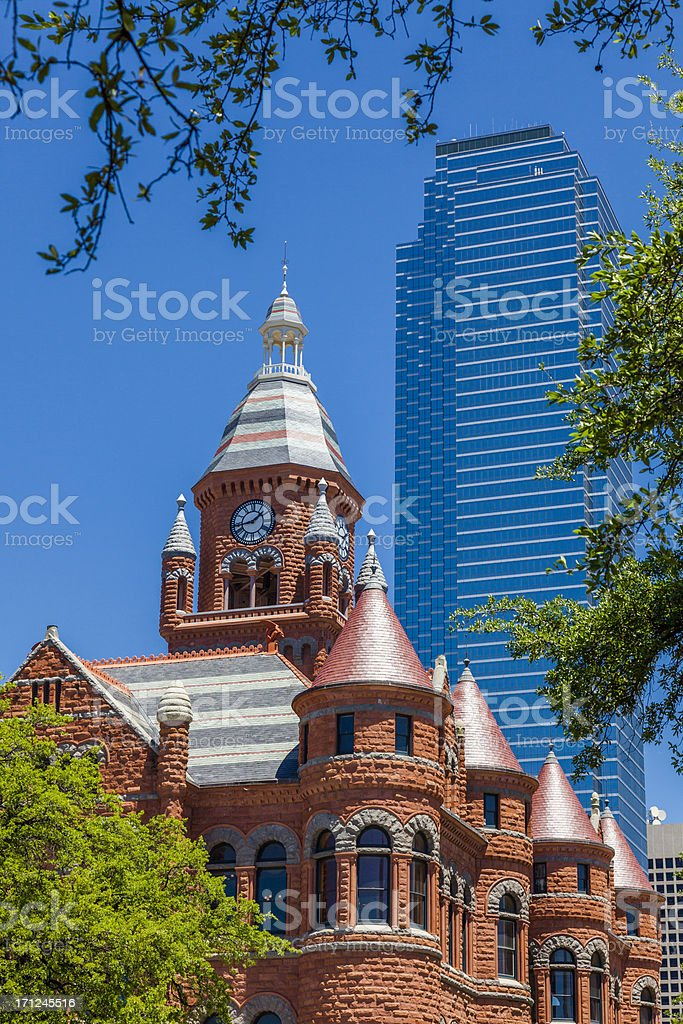 Old Red Courthouse and Dallas skyline from Dealey Plaza stock photo