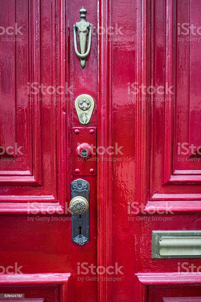 Old Red Door stock photo