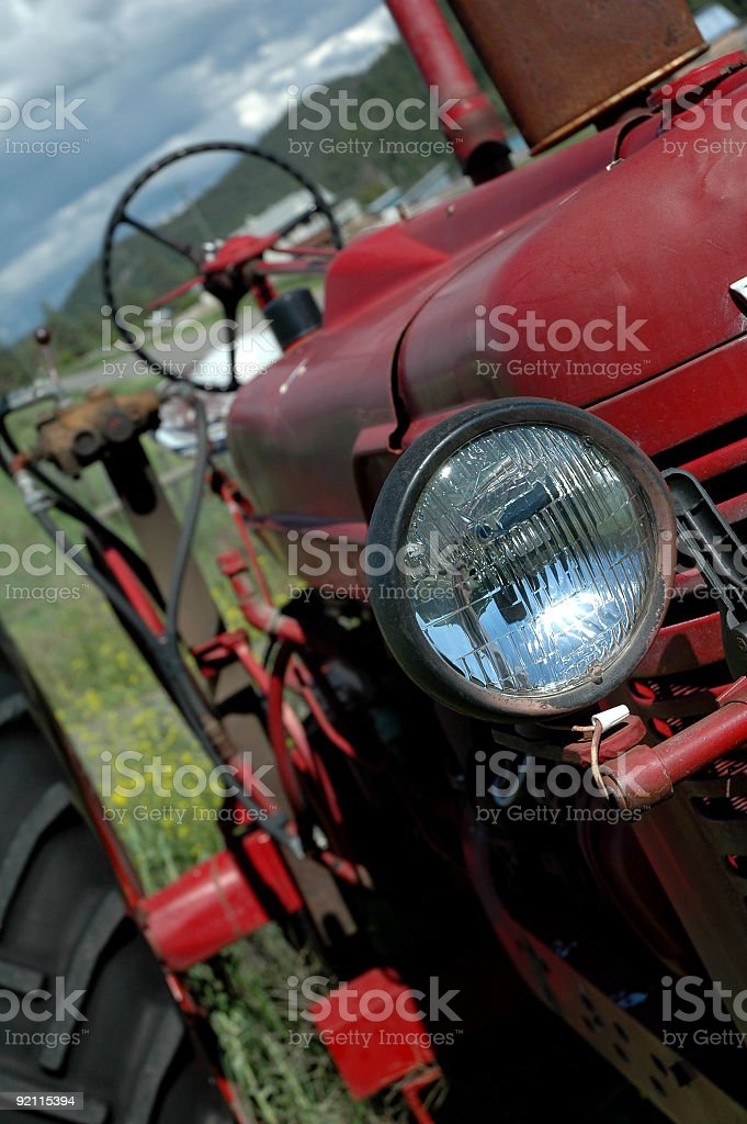 Old Red Farm Tractor royalty-free stock photo