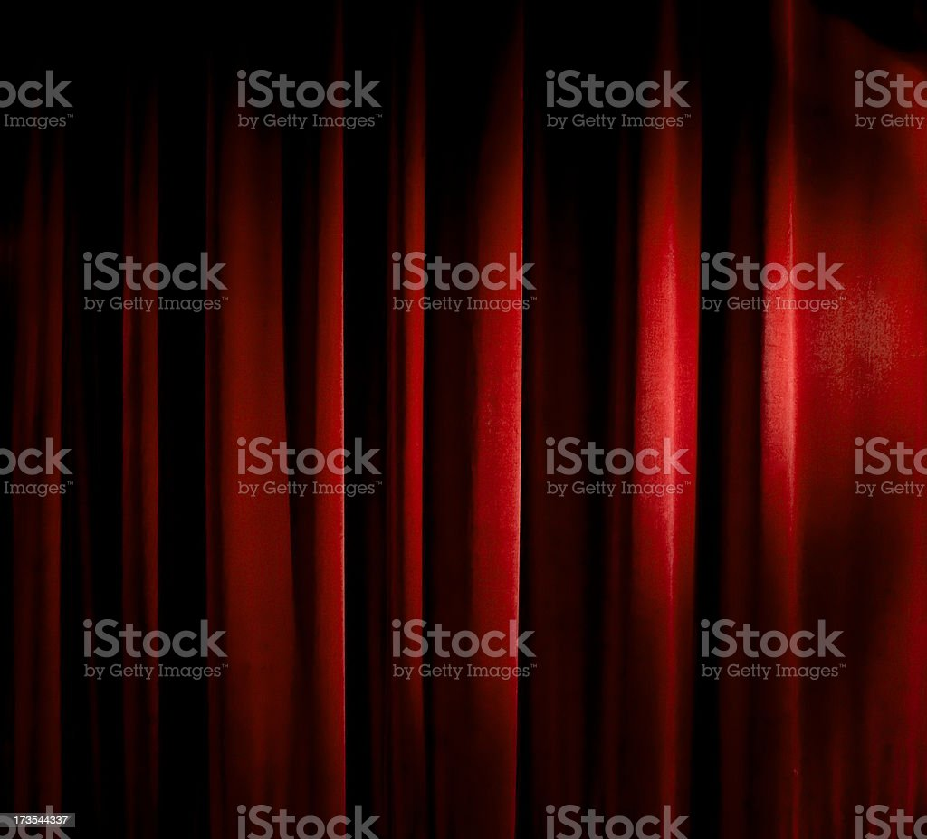 old red felt theatre curtain stock photo