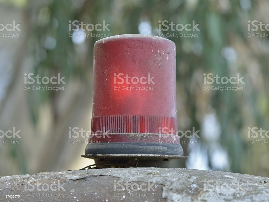 Old red flashing light stock photo