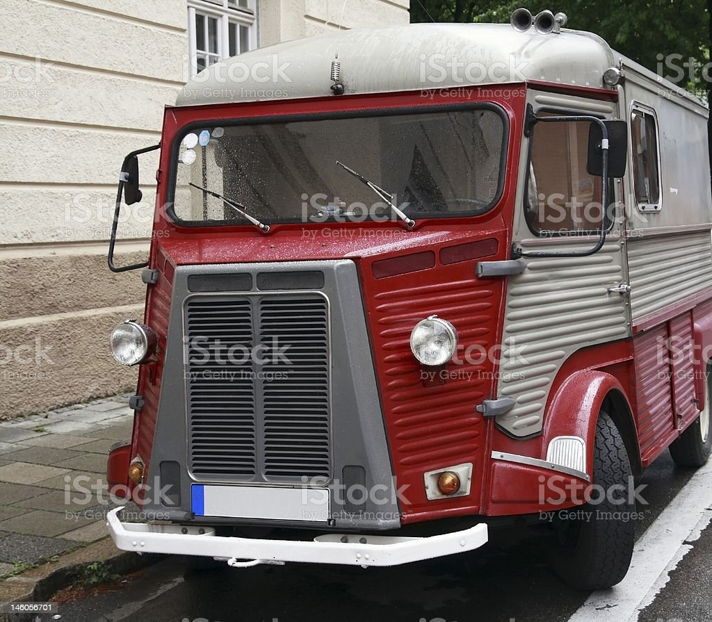 Old red funny bus royalty-free stock photo