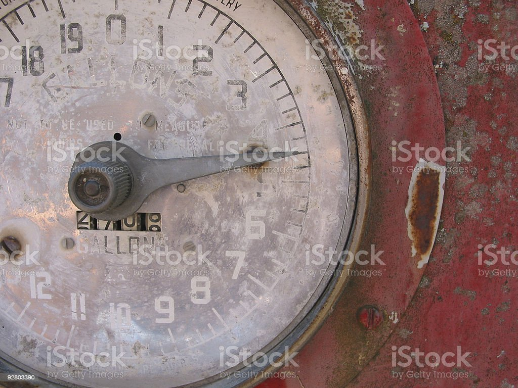 Old Red Gas Pump stock photo