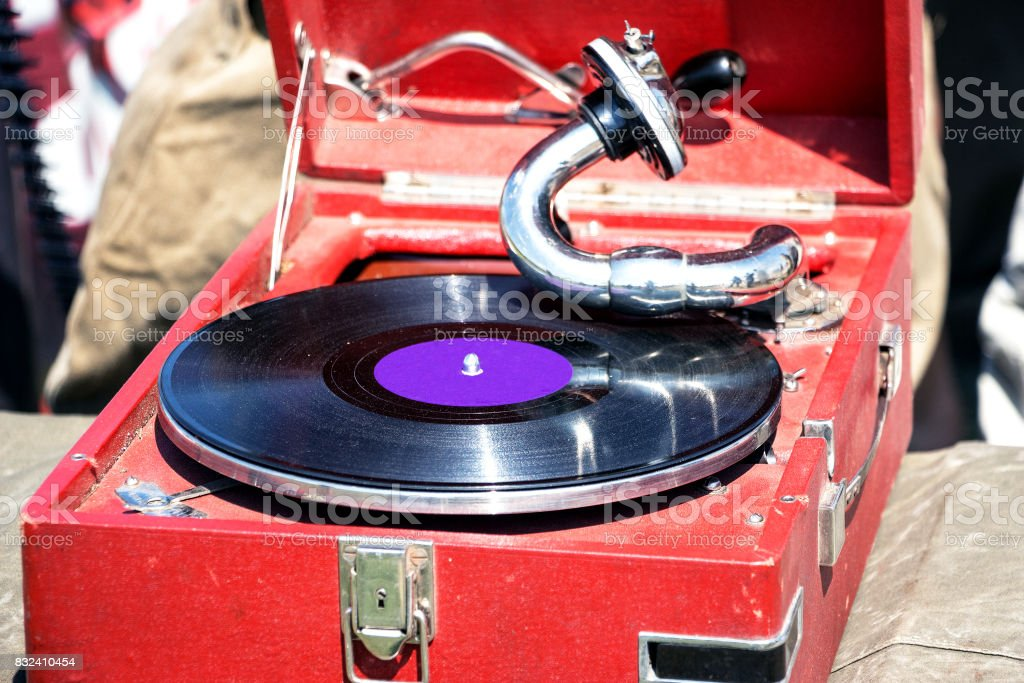 Old red gramophone stock photo