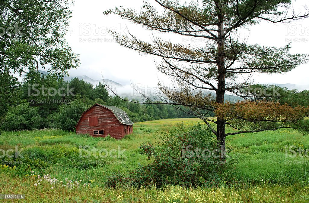 Old Red House in the meadow stock photo