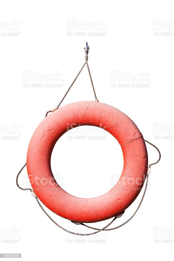 Old red lifebuoy isolated on white background stock photo