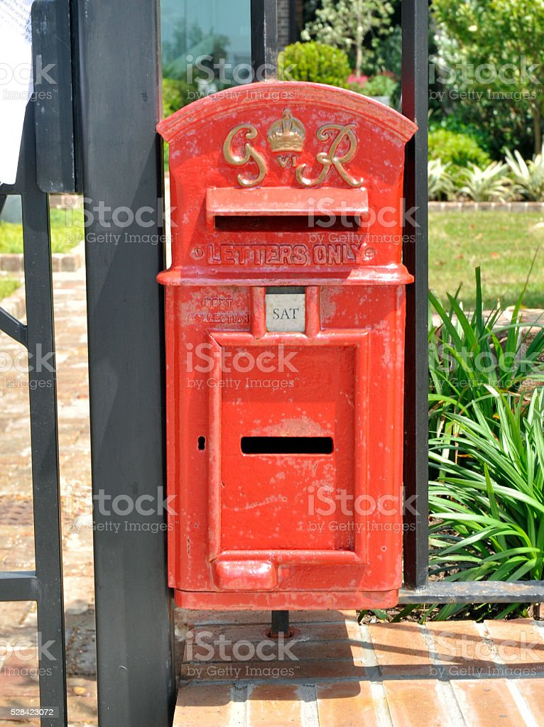 Old red mailbox royalty-free stock photo