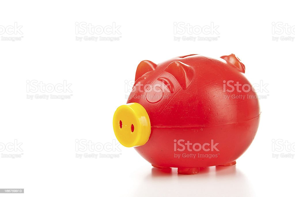 Old red piggy bank royalty-free stock photo