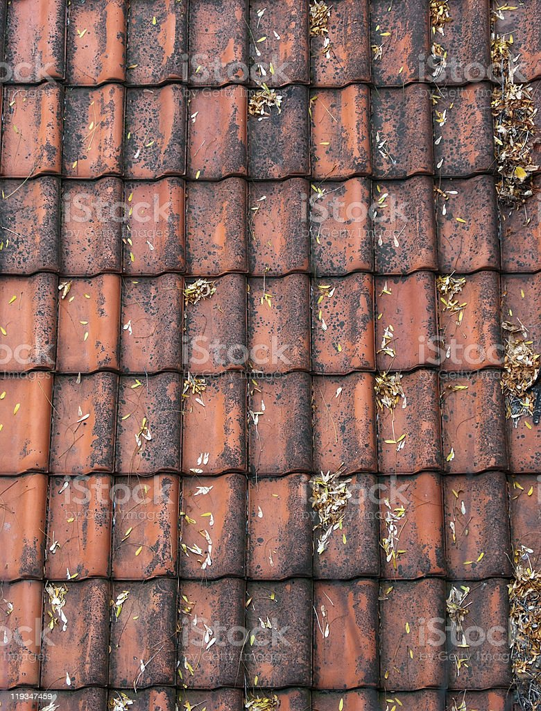 Old red roof tiles royalty-free stock photo