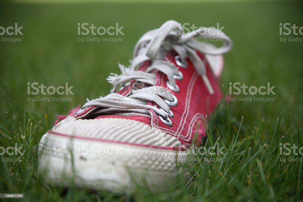 Old red shoe in the grass royalty-free stock photo