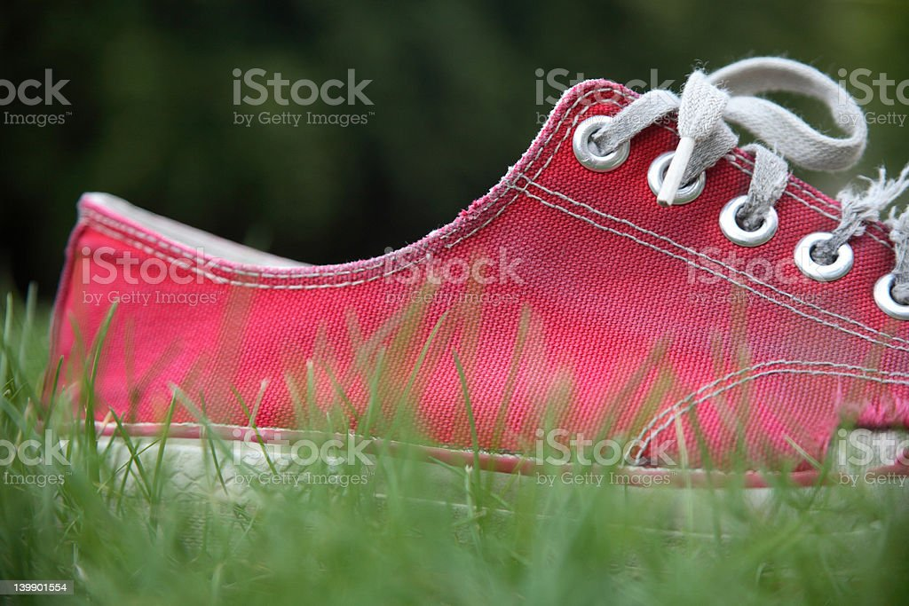 Old red shoe stock photo