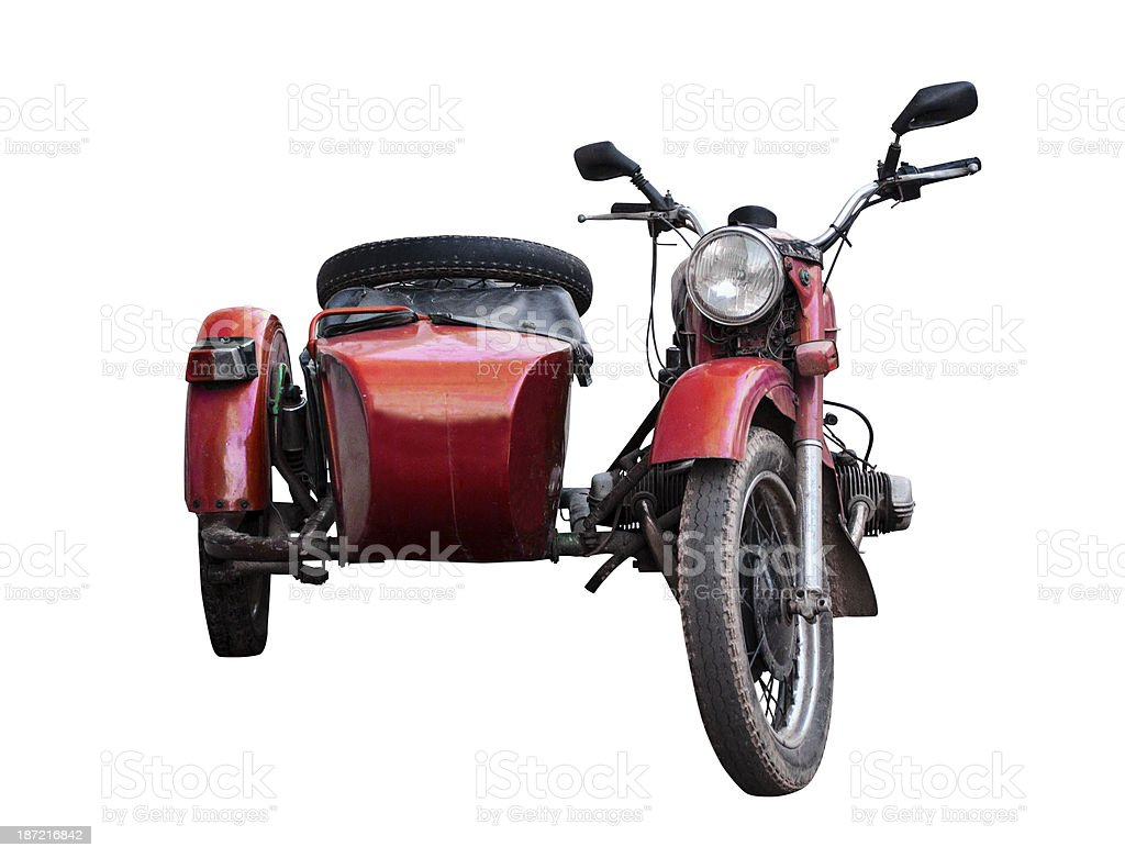 Old red sidecar stock photo