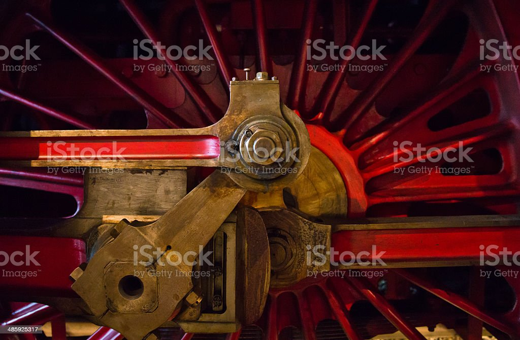Old red Steam Train driving wheel royalty-free stock photo