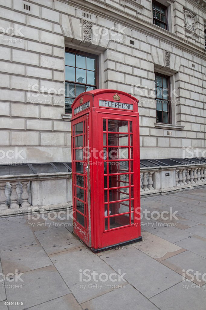 Old red telephone booth, London, England stock photo
