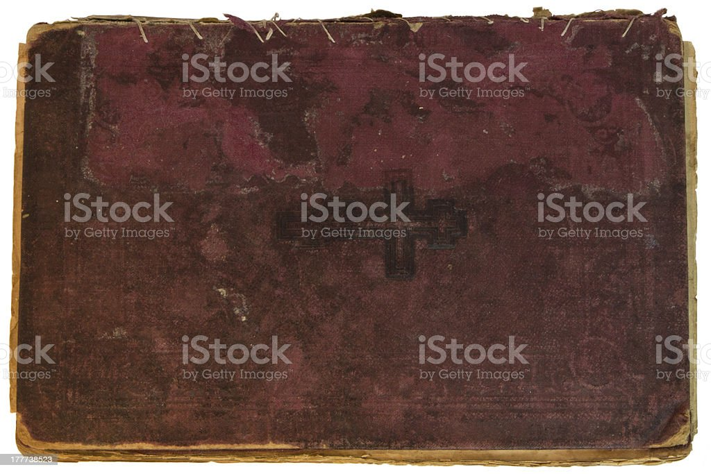 Old red textile cover of hand-written book isolated royalty-free stock photo