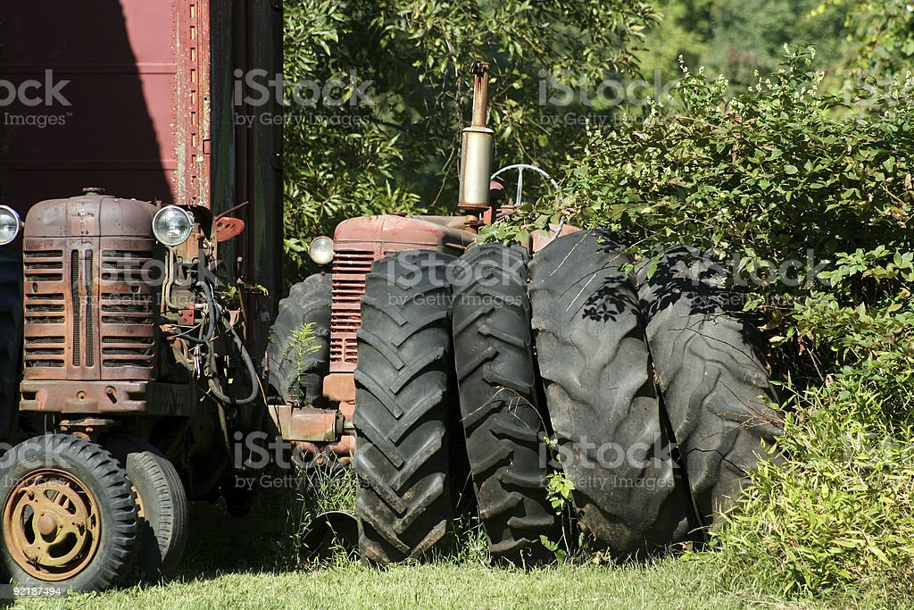 Old red tractors royalty-free stock photo