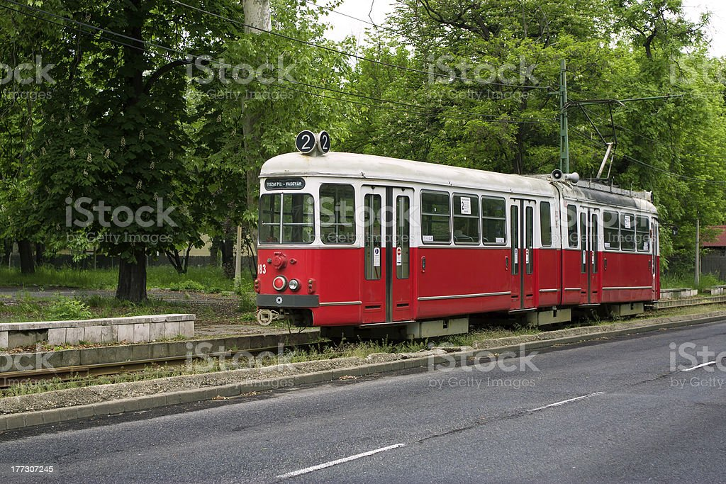 Old red tram in Miskolc, Hungary stock photo