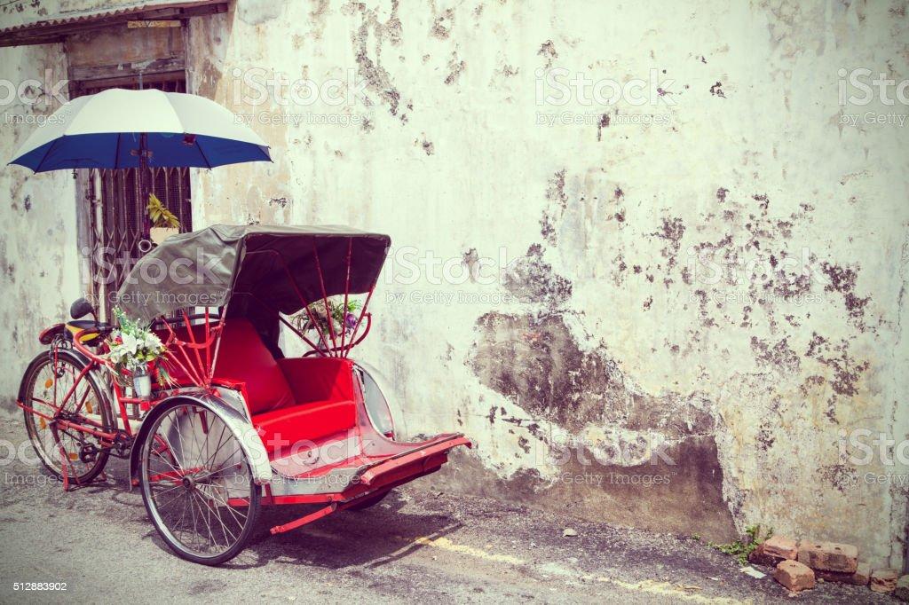 Old Red Trishaw stock photo