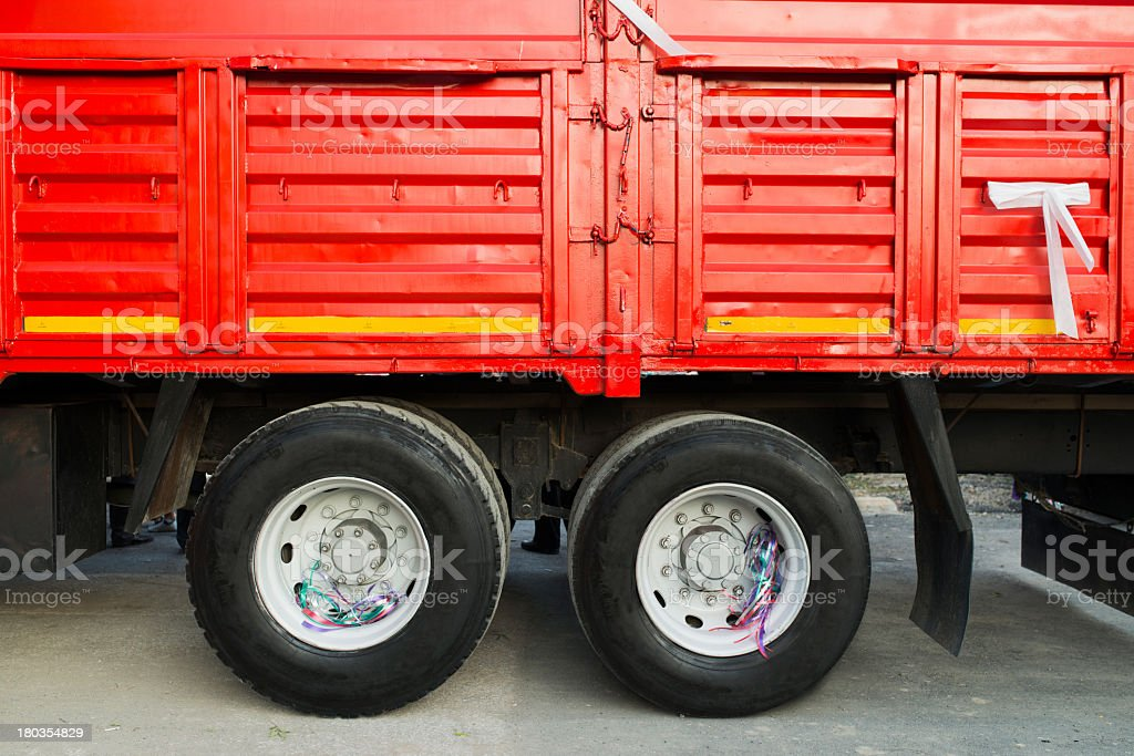 Old red truck tire royalty-free stock photo