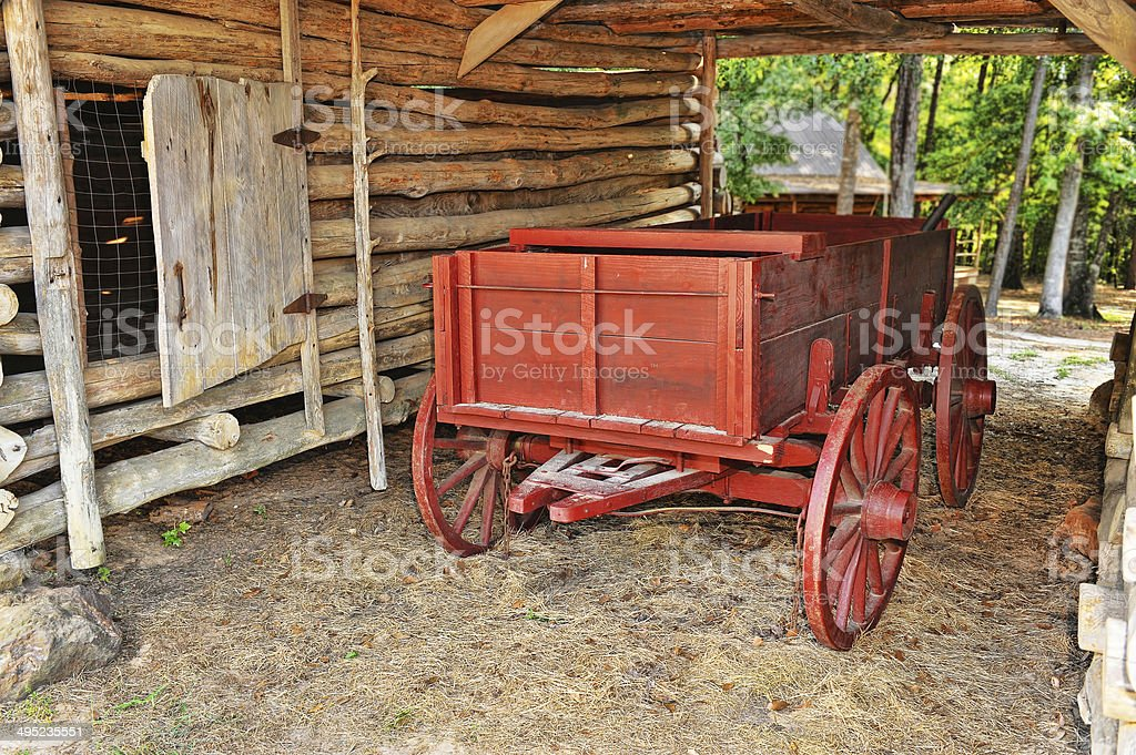 Old Red Waggon. stock photo