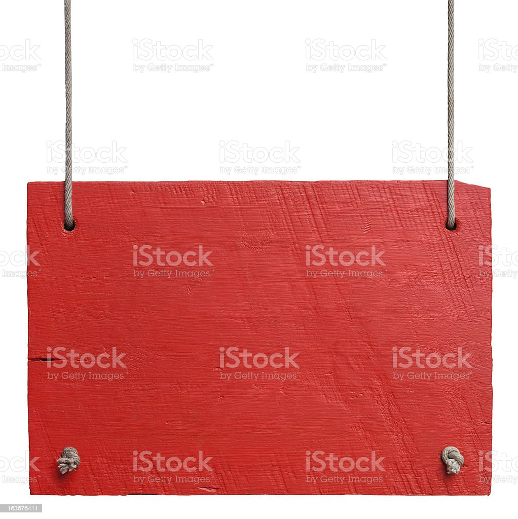Old red weathered white wood signboard. stock photo