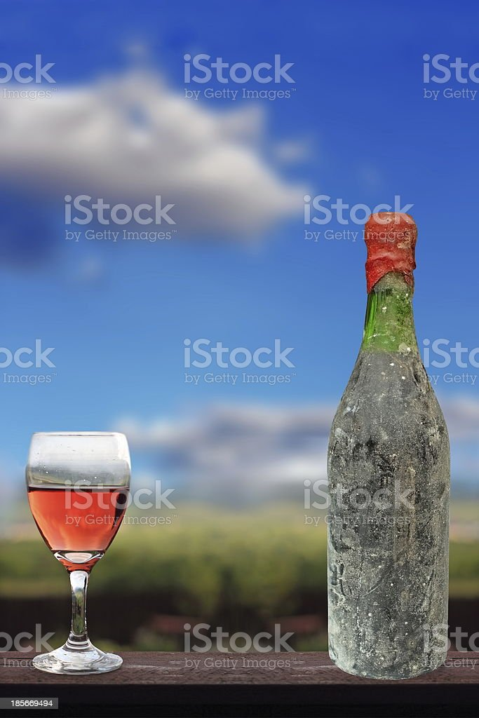 old red wine and glass royalty-free stock photo