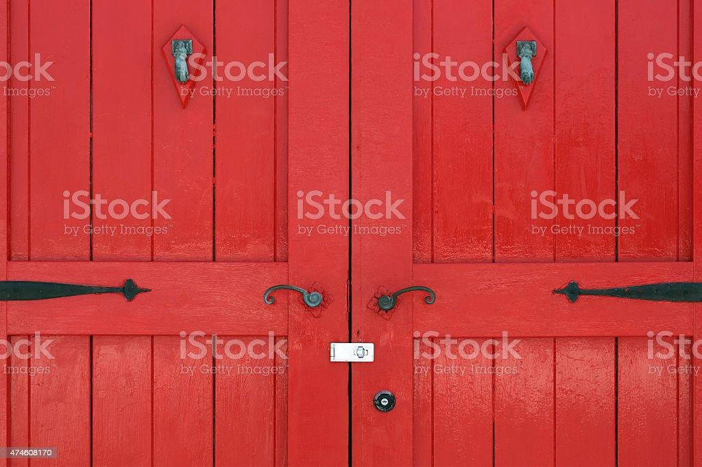 Old red wooden door stock photo