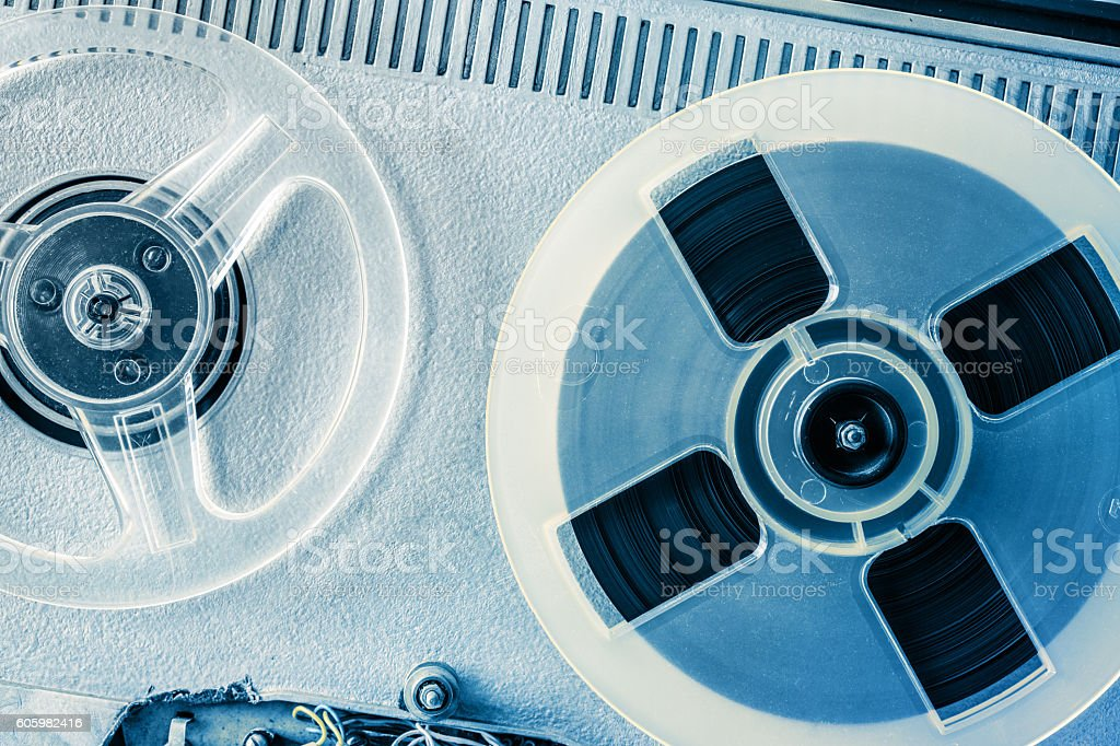 Old reel tape recorder in toning stock photo