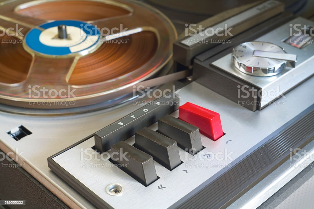 old reel to reel tape recorder stock photo