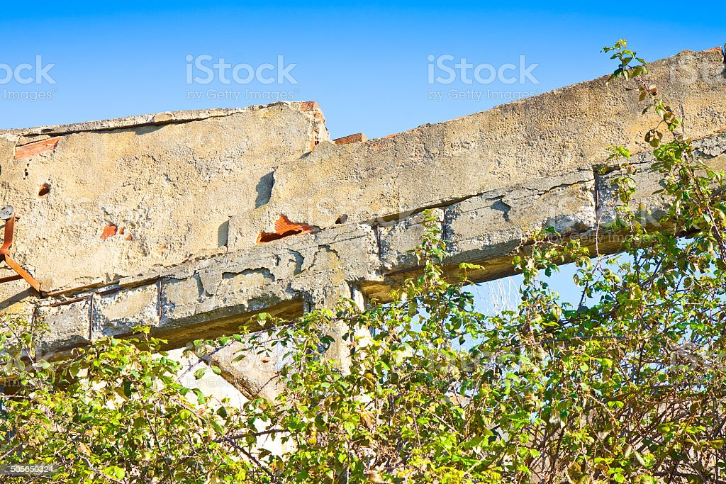 Old reinforced concrete structure stock photo