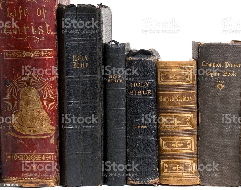 Old religious books and bibles stock photo