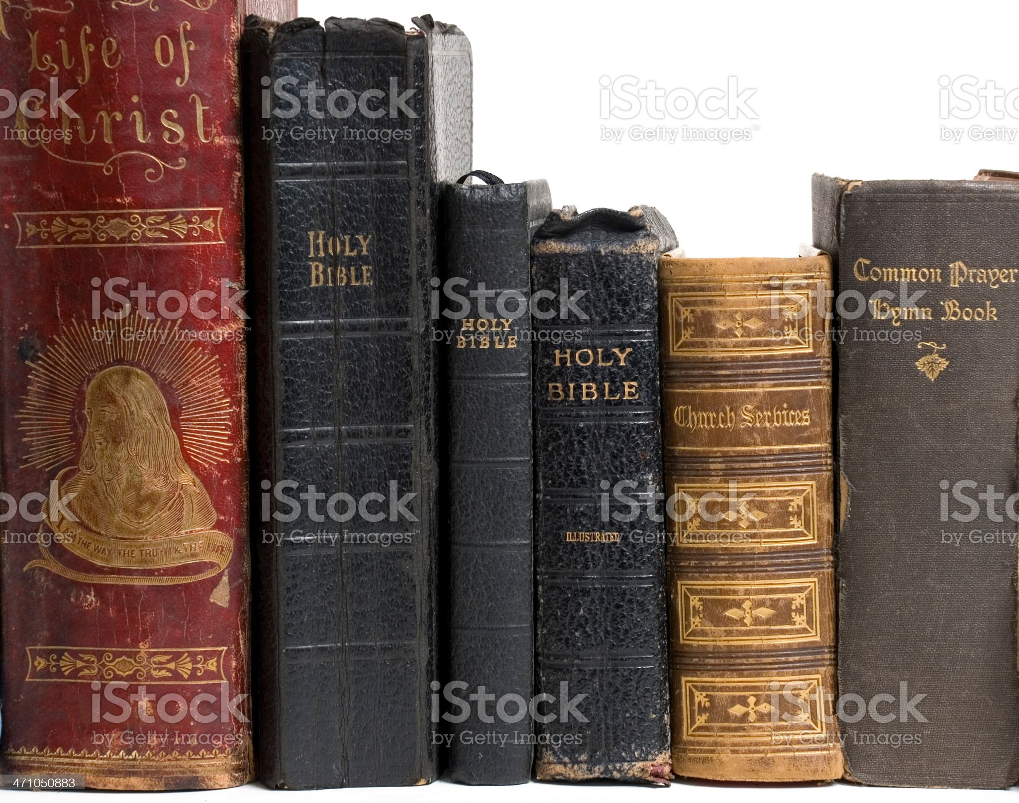 Old religious books and bibles royalty-free stock photo