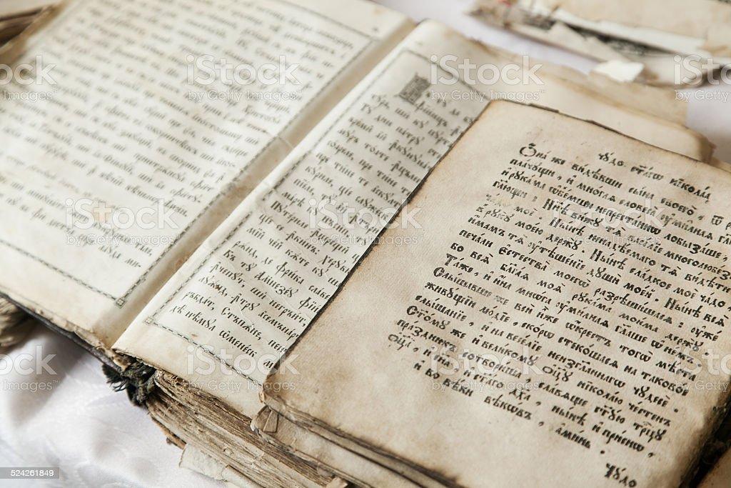 old religious scriptures stock photo