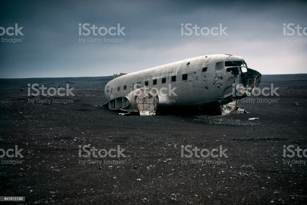 Old remnant plane that crashed stock photo