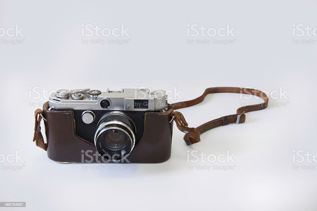 Old Rengefinder Camera from 1962 on White Back Ground. stock photo